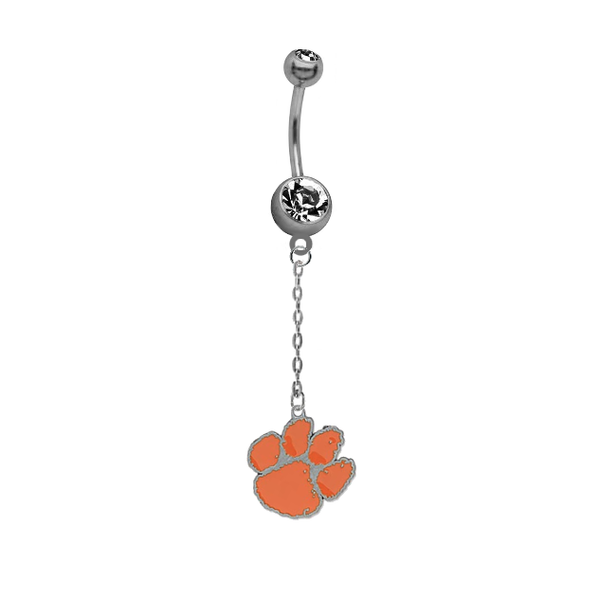 Clemson Tigers Dangle Chain Belly Button Navel Ring
