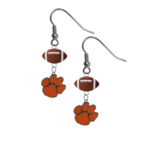 Clemson Tigers NCAA Football Dangle Earrings