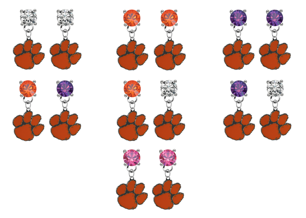 Clemson Tigers NCAA Swarovski Crystal Stud Rhinestone Earrings