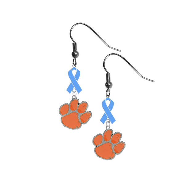 Clemson Tigers Prostate Cancer Awareness Light Blue Ribbon Dangle Earrings
