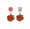 Clemson Tigers ORANGE & CLEAR Swarovski Crystal Stud Rhinestone Earrings