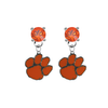 Clemson Tigers ORANGE Swarovski Crystal Stud Rhinestone Earrings