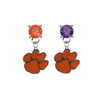 Clemson Tigers ORANGE & PURPLE Swarovski Crystal Stud Rhinestone Earrings