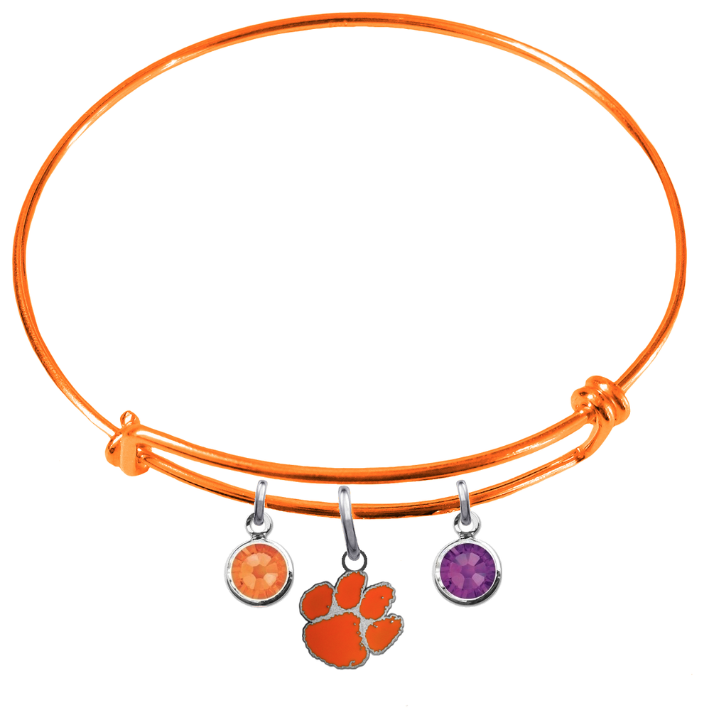 Clemson Tigers Orange Expandable Wire Bangle Charm Bracelet
