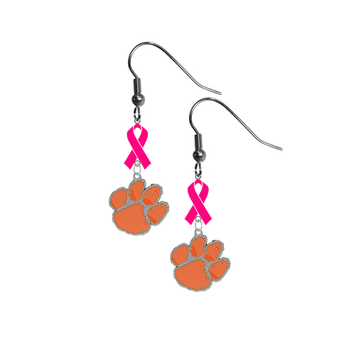 Clemson Tigers Breast Cancer Awareness Hot Pink Ribbon Dangle Earrings