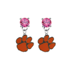 Clemson Tigers PINK Swarovski Crystal Stud Rhinestone Earrings