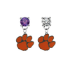 Clemson Tigers PURPLE & CLEAR Swarovski Crystal Stud Rhinestone Earrings