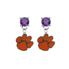 Clemson Tigers PURPLE Swarovski Crystal Stud Rhinestone Earrings