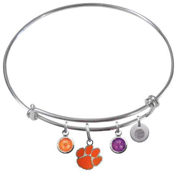 Clemson Tigers Basketball Expandable Wire Bangle Charm Bracelet