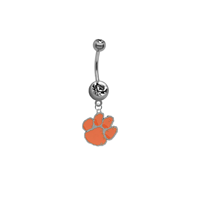 Clemson Tigers SILVER College Belly Button Navel Ring
