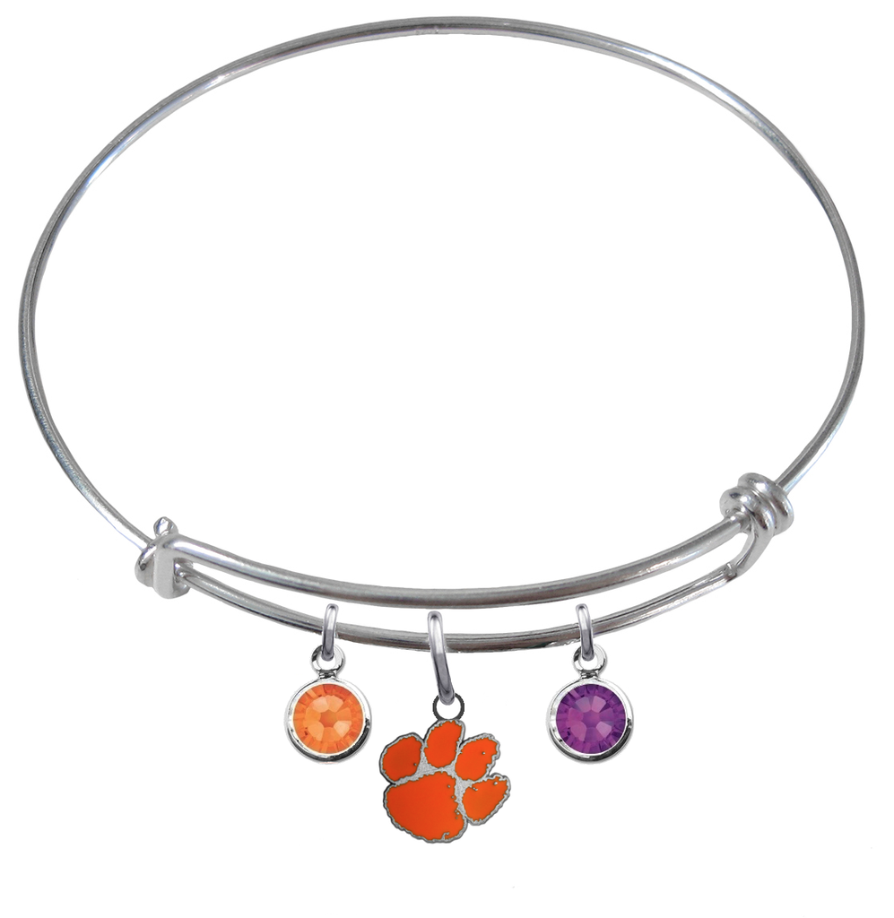 Clemson Tigers NCAA Expandable Wire Bangle Charm Bracelet