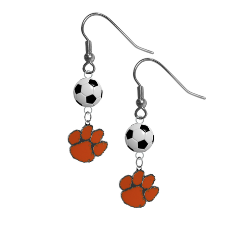 Clemson Tigers NCAA Soccer Dangle Earrings