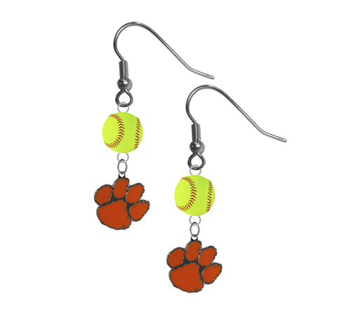 Clemson Tigers NCAA Fastpitch Softball Dangle Earrings