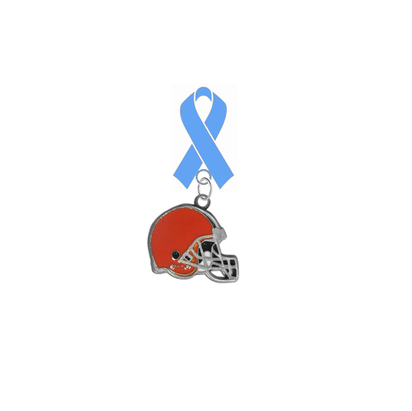 Cleveland Browns NFL Prostate Cancer Awareness / Fathers Day Light Blue Ribbon Lapel Pin
