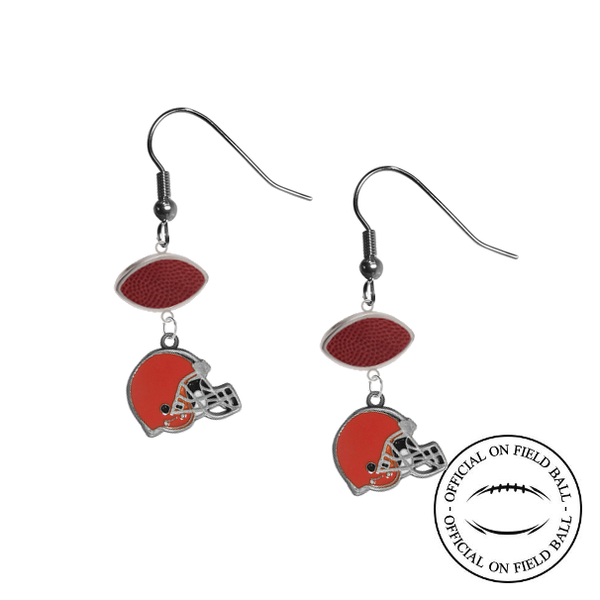 Cleveland Browns NFL Authentic Official On Field Leather Football Dangle Earrings