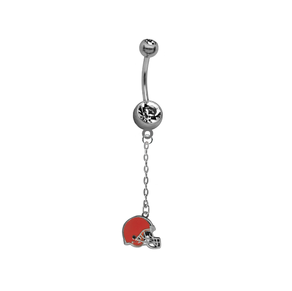 Cleveland Browns Chain NFL Football Belly Button Navel Ring