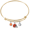 Cleveland Browns Gold NFL Expandable Wire Bangle Charm Bracelet