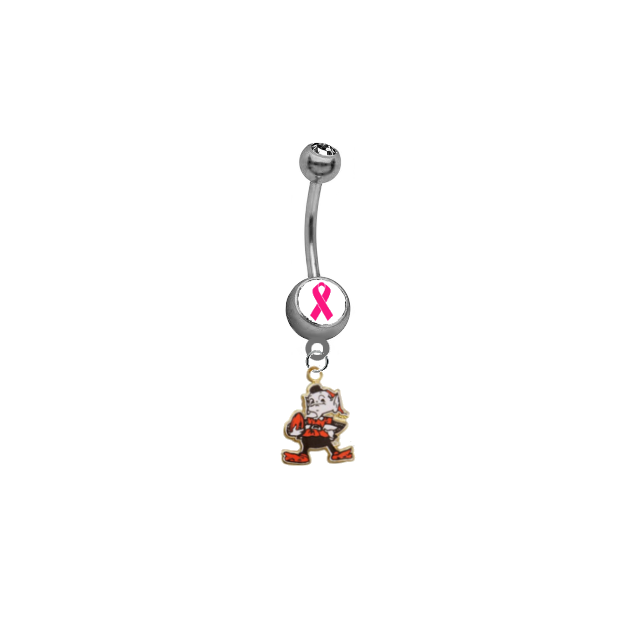 Cleveland Browns Mascot Breast Cancer Awareness NFL Football Belly Button Navel Ring