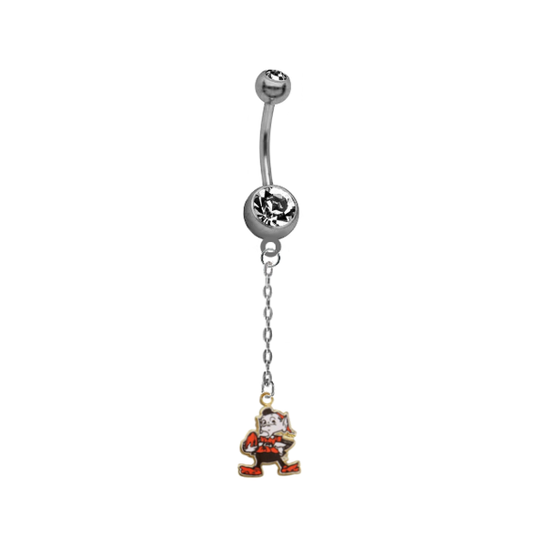 Cleveland Browns Mascot Chain NFL Football Belly Button Navel Ring