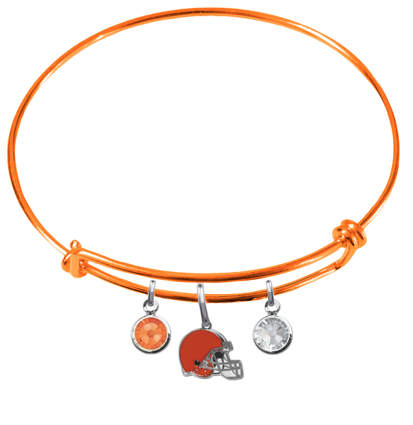 Cleveland Browns Orange NFL Expandable Wire Bangle Charm Bracelet