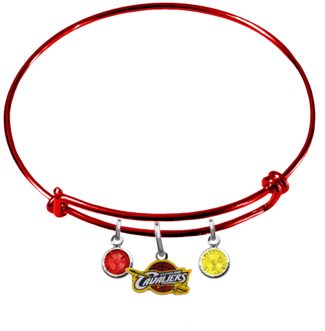 Cleveland Cavaliers RED Color Edition Expandable Wire Bangle Charm Bracelet