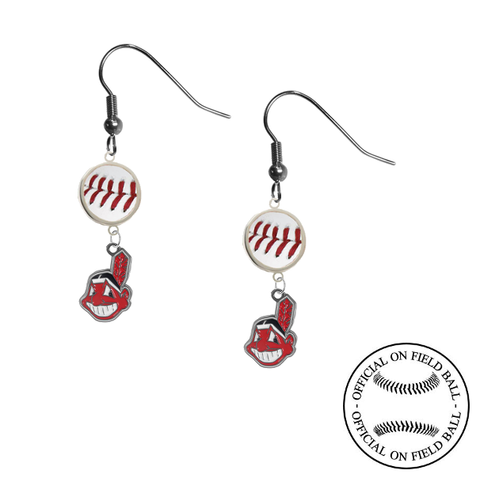 Cleveland Indians MLB Authentic Rawlings On Field Leather Baseball Dangle Earrings