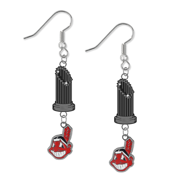 Cleveland Indians MLB World Series Trophy Dangle Earrings