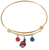 Cleveland Indians Gold MLB Expandable Wire Bangle Charm Bracelet