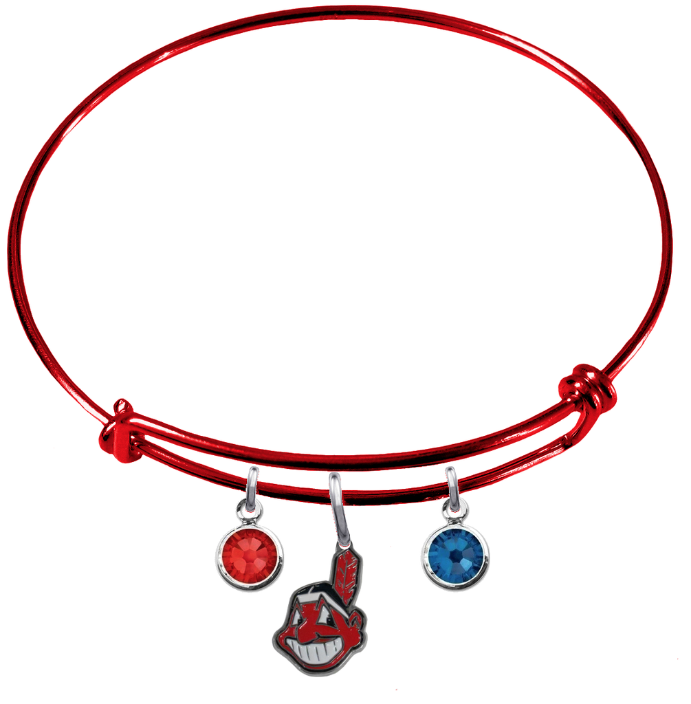 Cleveland Indians Red MLB Expandable Wire Bangle Charm Bracelet