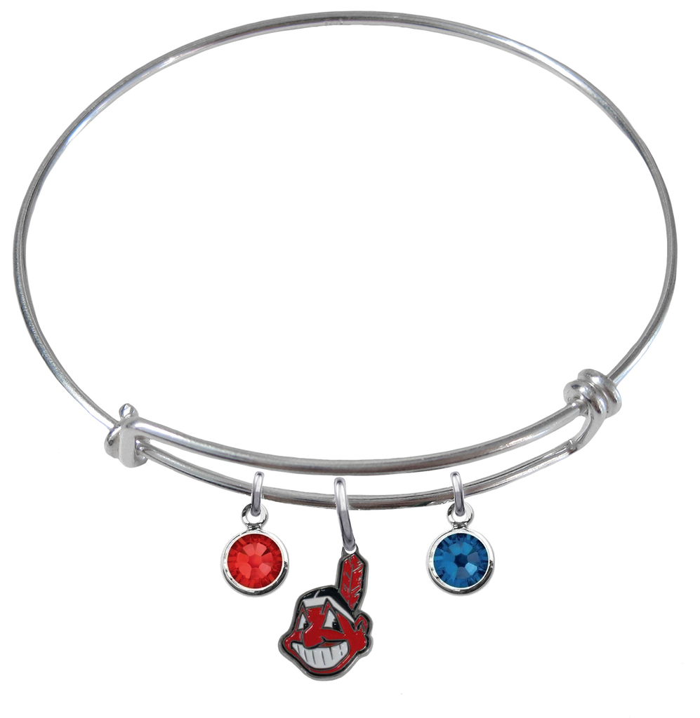 Cleveland Indians MLB Expandable Wire Bangle Charm Bracelet