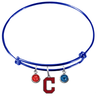 Cleveland Indians Style 2 Blue MLB Expandable Wire Bangle Charm Bracelet