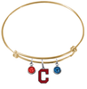 Cleveland Indians Style 2 Gold MLB Expandable Wire Bangle Charm Bracelet
