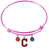 Cleveland Indians Style 2 Pink MLB Expandable Wire Bangle Charm Bracelet