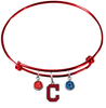 Cleveland Indians Style 2 Red MLB Expandable Wire Bangle Charm Bracelet