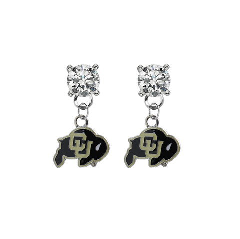 Colorado Buffaloes CLEAR Swarovski Crystal Stud Rhinestone Earrings