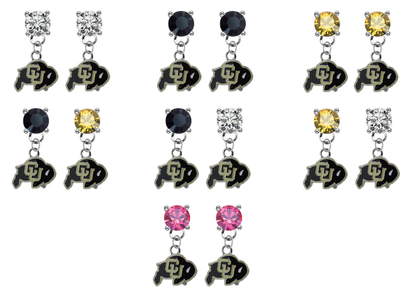 Colorado Buffaloes NCAA Swarovski Crystal Stud Rhinestone Earrings