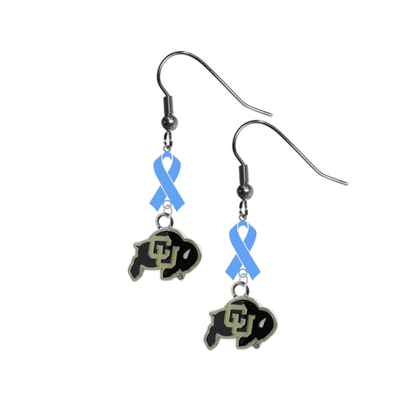 Colorado Buffaloes Prostate Cancer Awareness Light Blue Ribbon Dangle Earrings