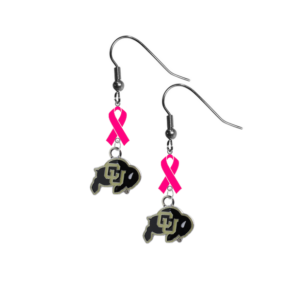 Colorado Buffaloes Breast Cancer Awareness Hot Pink Ribbon Dangle Earrings