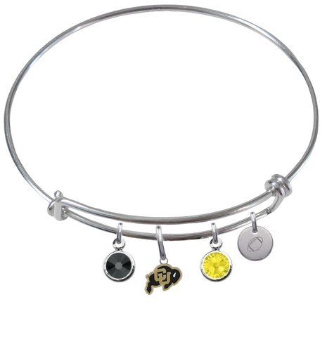 Colorado Buffaloes Football Expandable Wire Bangle Charm Bracelet