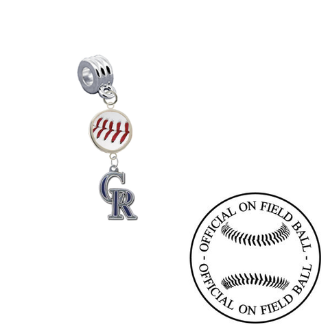 Colorado Rockies On Field Baseball Universal European Bracelet Charm (Pandora Compatible)