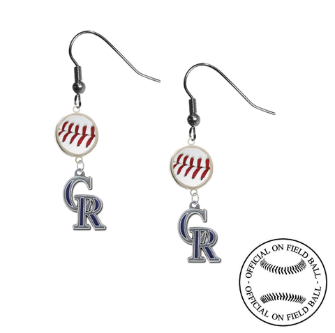 Colorado Rockies MLB Authentic Rawlings On Field Leather Baseball Dangle Earrings