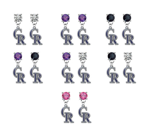 Colorado Rockies MLB Swarovski Crystal Stud Rhinestone Earrings