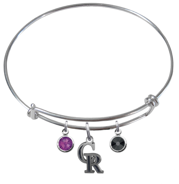 Colorado Rockies MLB Expandable Wire Bangle Charm Bracelet