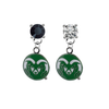 Colorado State Rams BLACK & CLEAR Swarovski Crystal Stud Rhinestone Earrings