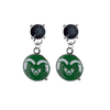 Colorado State Rams BLACK Swarovski Crystal Stud Rhinestone Earrings