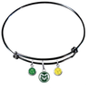Colorado State Rams Black Expandable Wire Bangle Charm Bracelet
