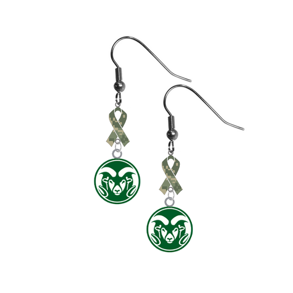 Colorado State Rams Salute to Service Camouflage Camo Ribbon Dangle Earrings