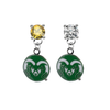 Colorado State Rams GOLD & CLEAR Swarovski Crystal Stud Rhinestone Earrings