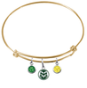 Colorado State Rams Gold Expandable Wire Bangle Charm Bracelet