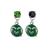 Colorado State Rams GREEN & BLACK Swarovski Crystal Stud Rhinestone Earrings